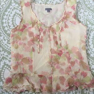 Ann Taylor 100% silk cream pink Sleeveless blouse